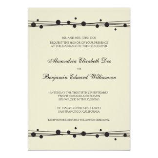"Modern Dots & Straw Wedding Invitation (black) 5"" X 7"" Invitation Card"