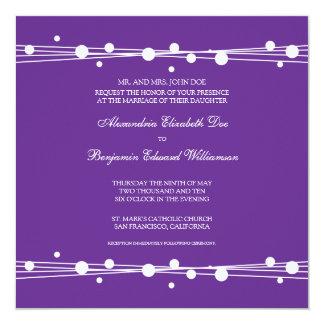 "Modern Dots & Straw Wedding Invitation (purple) 5.25"" Square Invitation Card"