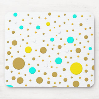 Modern Dots Turquoise Yellow White Gold Fun Design Mouse Pad