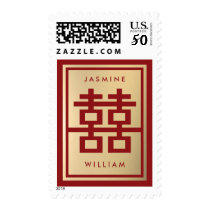 Modern Double Happiness Chinese Wedding Stamps