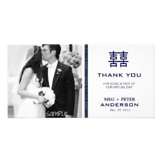 Modern Double Happiness Chinese Wedding Thank You Photo Card