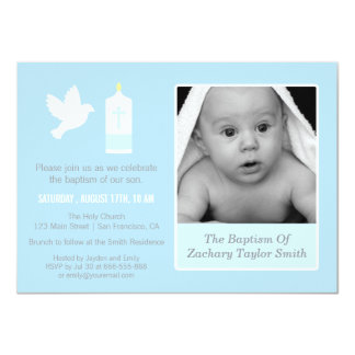 Modern Dove and Candle Photo Baptism Invitations