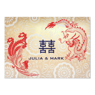 Modern Dragon-Phoenix Chinese Wedding Card