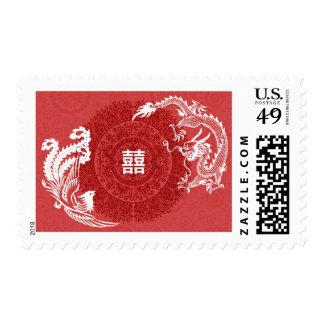 Modern Dragon-Phoenix Chinese Wedding Custom Stamp