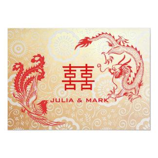 Modern Dragon-Phoenix Chinese Wedding Gold Red Card