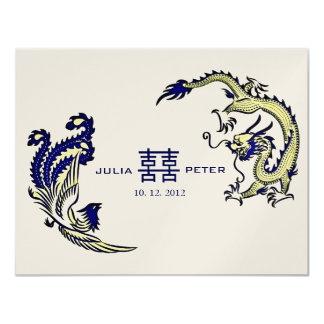 "Modern Dragon-Phoenix Chinese Wedding Invitation 4.25"" X 5.5"" Invitation Card"