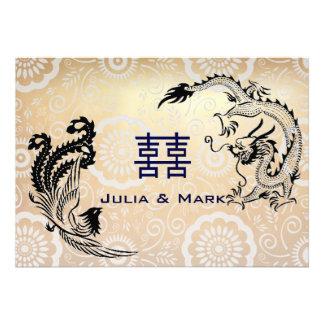 Modern Dragon-Phoenix Chinese Wedding Invitation Cards