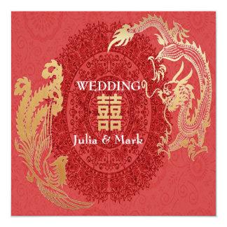Modern Dragon-Phoenix Chinese Wedding Invite Red