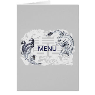 Modern Dragon-Phoenix Chinese Wedding Menu Card