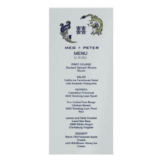 Modern Dragon-Phoenix Chinese Wedding Menu Custom Announcements