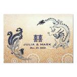 Modern Dragon-Phoenix Chinese Wedding RSVP 3.5x5 Paper Invitation Card