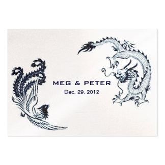 Modern Dragon-Phoenix Chinese Wedding RSVP Large Business Card