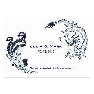 Modern Dragon-Phoenix Chinese Wedding Table Card l