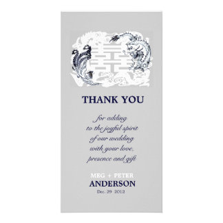 Modern Dragon-Phoenix Chinese Wedding Thank You Photo Card