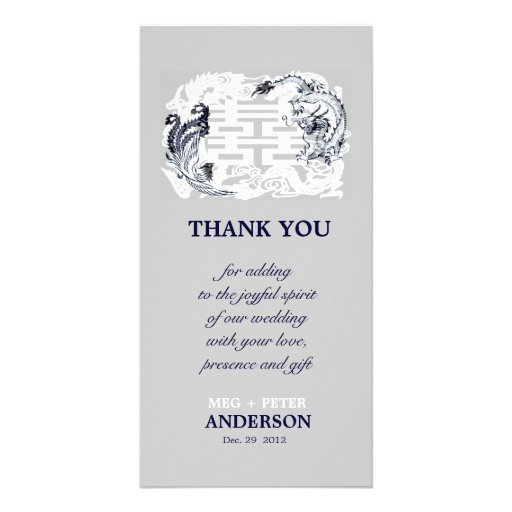 Modern Dragon Phoenix Chinese Wedding Thank You Picture Card