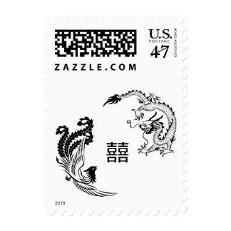 Modern Dragon-Phoenix Double-Xi Chinese Wedding Postage Stamp