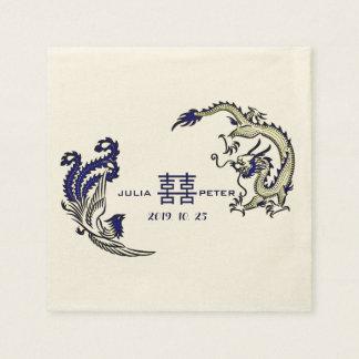 Modern Dragon-Phoenix Personalized Chinese Wedding Napkin