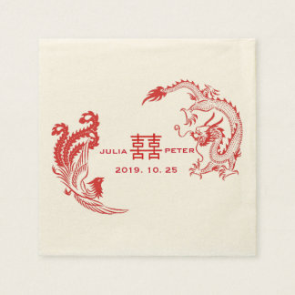 Modern Dragon-Phoenix Personalized Chinese Wedding Paper Napkin