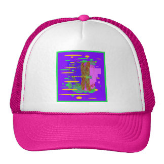 Modern Dragonfly City Scape Design by Sharles Mesh Hat