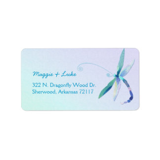 Modern Dragonfly Wedding Return Address Labels