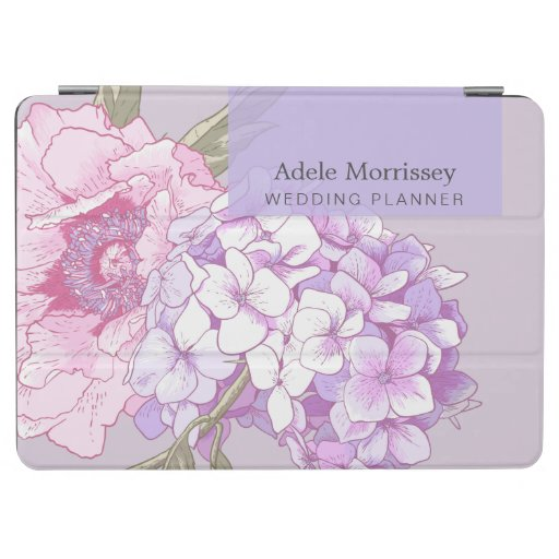Modern Drawing Floral Peony Hydrangea Pink Purple iPad Air Cover