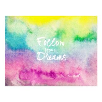 Modern dreams quote typography bright watercolor postcard