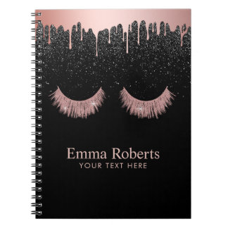 Modern Dripping Rose Gold Lashes Black Glitter Notebook