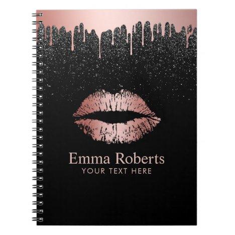 Modern Dripping Rose Gold Lips Black Glitter Notebook