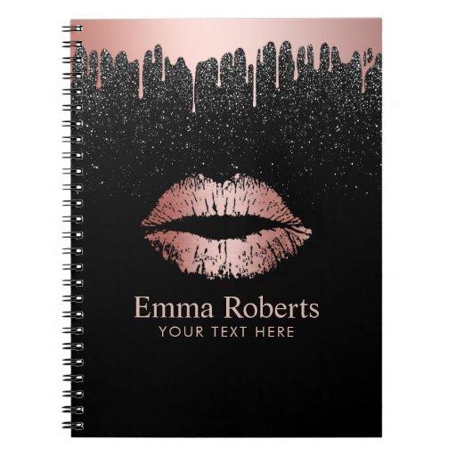 Modern Dripping Rose Gold Lips Black Glitter Spiral Notebook