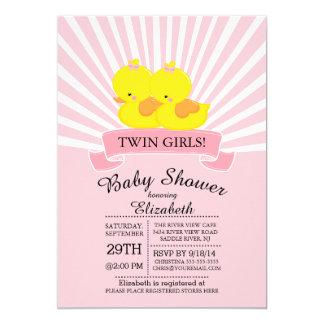 Modern Duck Twin Girl Baby Shower Invitation