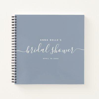 Modern Dusty Blue Chic Script Bridal Shower Guest Notebook