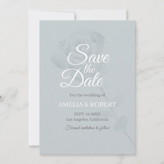 Modern Dusty Blue Watercolor Floral Wedding Save The Date