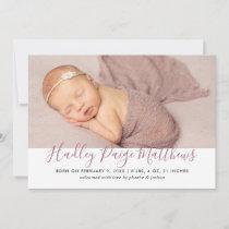 Modern Dusty Rose Script Baby Girl Photo Birth Announcement