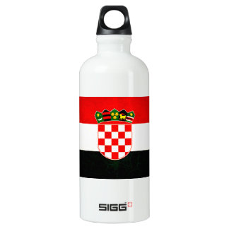 Modern Edgy Croatian Flag Water Bottle
