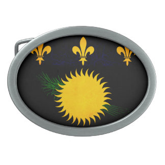 Modern Edgy Guadeloupean Flag Oval Belt Buckles