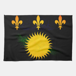Modern Edgy Guadeloupean Flag Kitchen Towels