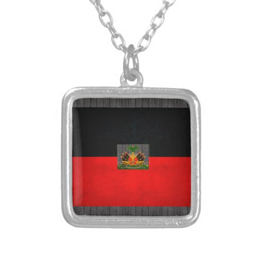 Modern Edgy Haitian Flag Square Pendant Necklace