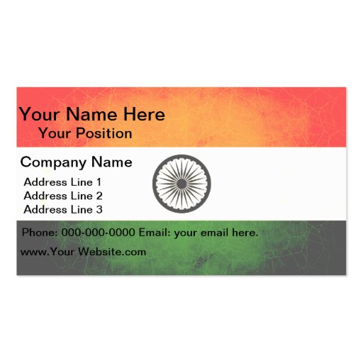 Modern edgy indian flag double sided standard business for Edgy business cards