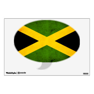 Modern Edgy Jamaican Flag Wall Decal