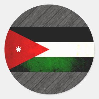 Modern Edgy Jordanian Flag Classic Round Sticker