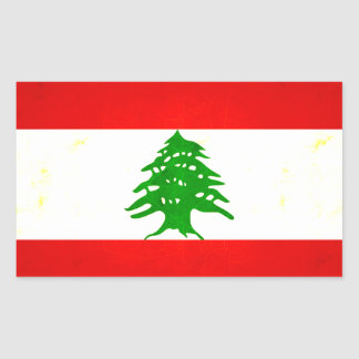 Modern Edgy Lebanese Flag Rectangle Stickers