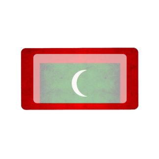 Modern Edgy Maldivan Flag Label
