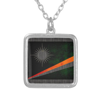Modern Edgy Marshallese Flag Square Pendant Necklace