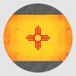 Modern Edgy New Mexican Flag Classic Round Sticker