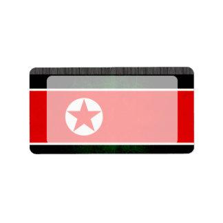 Modern Edgy North Korean Flag Label