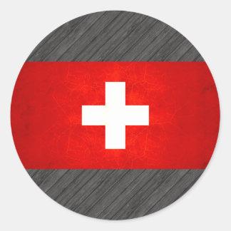 Modern Edgy Swiss Flag Classic Round Sticker