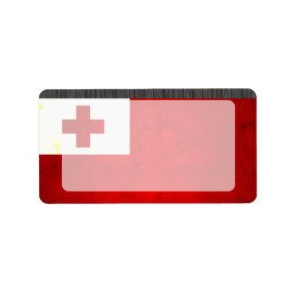 Modern Edgy Tongan Flag Custom Address Label