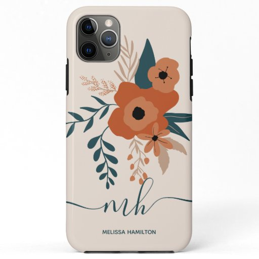modern editable terracotta floral monogrammed iPhone 11 pro max case