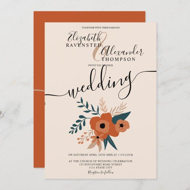 modern editable terracotta floral script wedding invitation