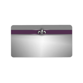 Modern Eggplant Purple Silver Fleur de Lis Address Label